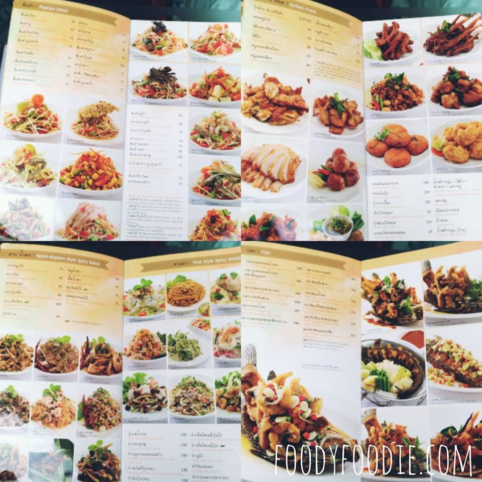 Delicious Thai food restaurant in Bangkok Nittaya Kai Yang menu