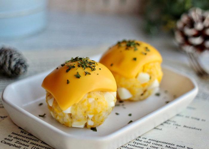 egg cheeses rice ball recipe